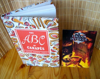"""Vintage 50's """"The ABC of CANAPÉS"""" Cookbook Hard Cover with """"ITALiAN INTRiGUE"""" Leaflet"""