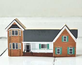 HOUSE MODEL - wooden block - personalised - house portrait -  hand painted wooden house, miniature house, hand painted house