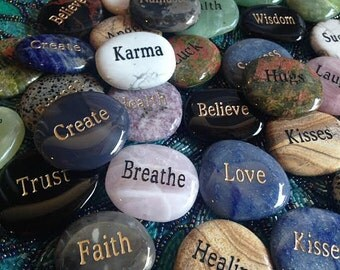 Magical Word Stones - Sacred intention carved into natural gem palm stones