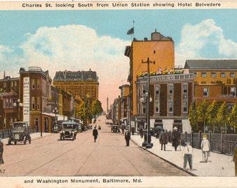Vintage Postcard, Baltimore, Maryland, Charles Street, Union Station, Hotel, ca 1920