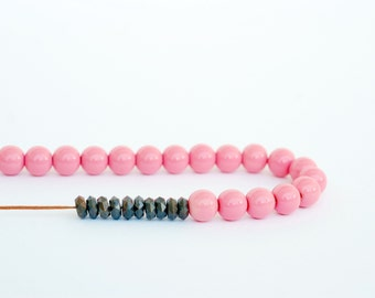 Pastel Pink Necklace, Beaded Necklace, Long, Adjustable, Statement, Glass, Faceted, Boho