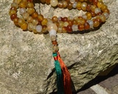 108 Buddhist prayer mala multi agate rough rounds  M222
