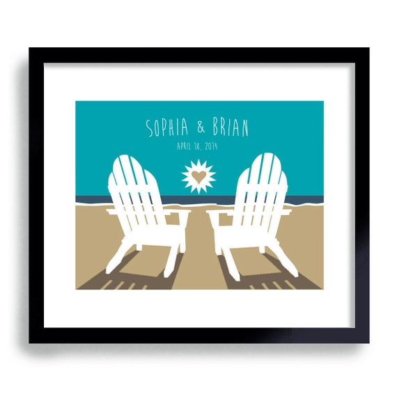 Beach Wedding Art Print Personalized Beach Theme Unique Engagement Gift Adirondack Chair Bride and Groom Destination Wedding for Couples