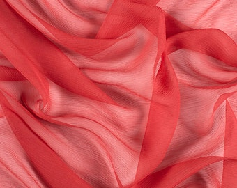 "42"" Wide 100% Silk Crinkled Chiffon Red by the yard"