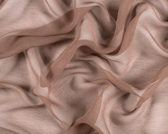 "42"" Wide 100% Silk Crinkled Chiffon Latte by the yard"