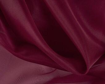 """45"""" Wide 100% Silk Organza Burgundy by the yard"""