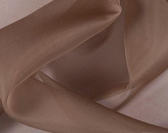 "45"" Wide 100% Silk Organza Brown by the yard"