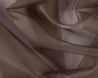 "45"" Wide 100% Silk Organza Latte by the yard"