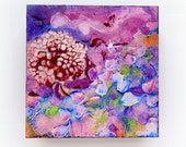Abstract Floral Landscape Original Floral Abstract Painting  Impasto Palette Knife Painting Small 6x6 cradled
