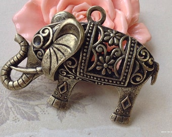 52 x 32 x 16 mm Antiqued Bronze 3D Hollow Thai Elephant Charm Pendants (s.gn)