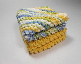 Cotton Washcloth Set of 2 Yellow Dishcloths Knit Wash Cloths