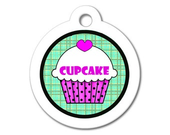 Cute Dog Tag - Purple Cupcake with Teal Pattern Background - Personalized ID Name Tag for Dogs & Cats, Dog ID Tag, Stainless Steel Pet Tag