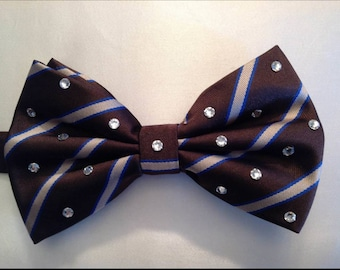 Brown Blue Stripe Bow Tie with clear rhinestones for men or women