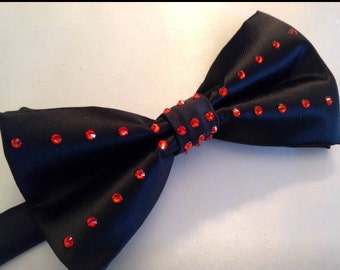 Black Bow Tie with red rhinestones for men or women