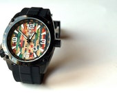 Wood Watch, Skate Watch, Made in Canada,  Recycled Skateboard Watch - Second Shot Skate Watch
