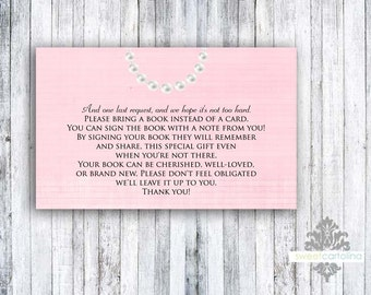 Book Insert - Set of 20 - Light Pink Ribbons and Bows
