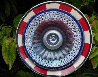 Plate Art Flower Decor for the Yard and Garden, Americana