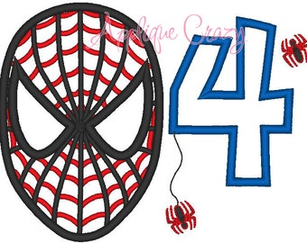 Spiderman with the Number 4 Applique design