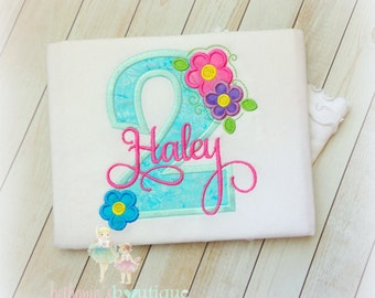 Flower Birthday Shirt, 1st Birthday Shirt, 2nd Birthday Shirt, Spring Summer Flowers, Pink, Purple, and Aqua, Custom embroidery