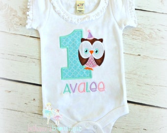 Owl birthday shirt for girls - 1st birthday owl shirt - blue and pink embroidered owl shirt - first birthday owl shirt - owl themed shirt