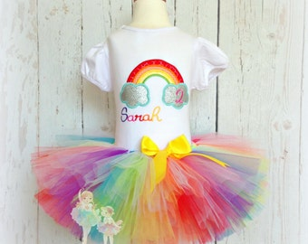 Rainbow birthday outfit - 1st birthday rainbow outfit - first birthday outfit - rainbow tutu - rainbow tutu outfit - custom birthday outfit