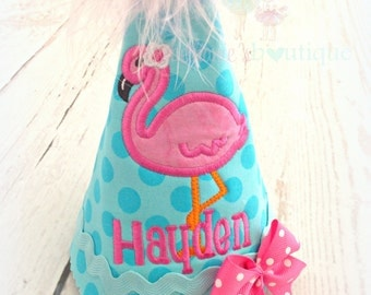 Flamingo birthday hat - flamingo themed birthday hat - fabric birthday hat - pink and blue flamingo hat - birthday hat for girls