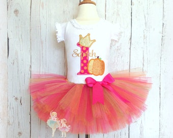 Birthday Princess Pumpkin Tutu Outfit- Fall- Halloween- 1st Birthday Outfit- Pink, Gold, and Orange