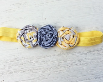 yellow gray rolled rosette headband baby infant newborn twisted fabric rose child girl handmade flower vintage