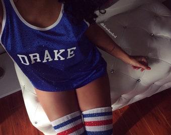 "Blue Crystallized ""DRAKE"" athletic mesh tank"