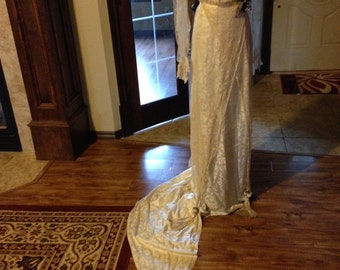 CLEARANCE!!!!!  Splendid Antique Edwardian Silk and Brussels Lace Wedding Gown