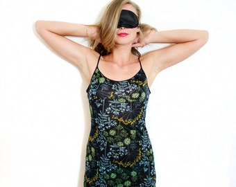 Vintage Spaghetti Straps Sheer Black Floral Print Slip Night Gown