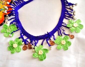 SALE--- GYPSY CHOKER  - bohemian necklace -crochet necklace-flower necklace -Turkish necklace-belly dance necklace