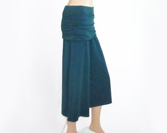 Gauchos Wide Leg Cropped Pants - Handmade Skirted Capris-Hand Dyed Bamboo/Organic Cotton Jersey-Custom Size and Color - XXS thru Large