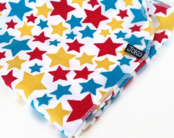 Handmade XL Flannel Receiving blanket / Swaddle blanket - Primary Stars - Red, Yellow and Blue