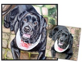 custom dog portrait pet portrait dog painting original oil hand painted black lab art great gift 12x12 made to order by Heather Hughes
