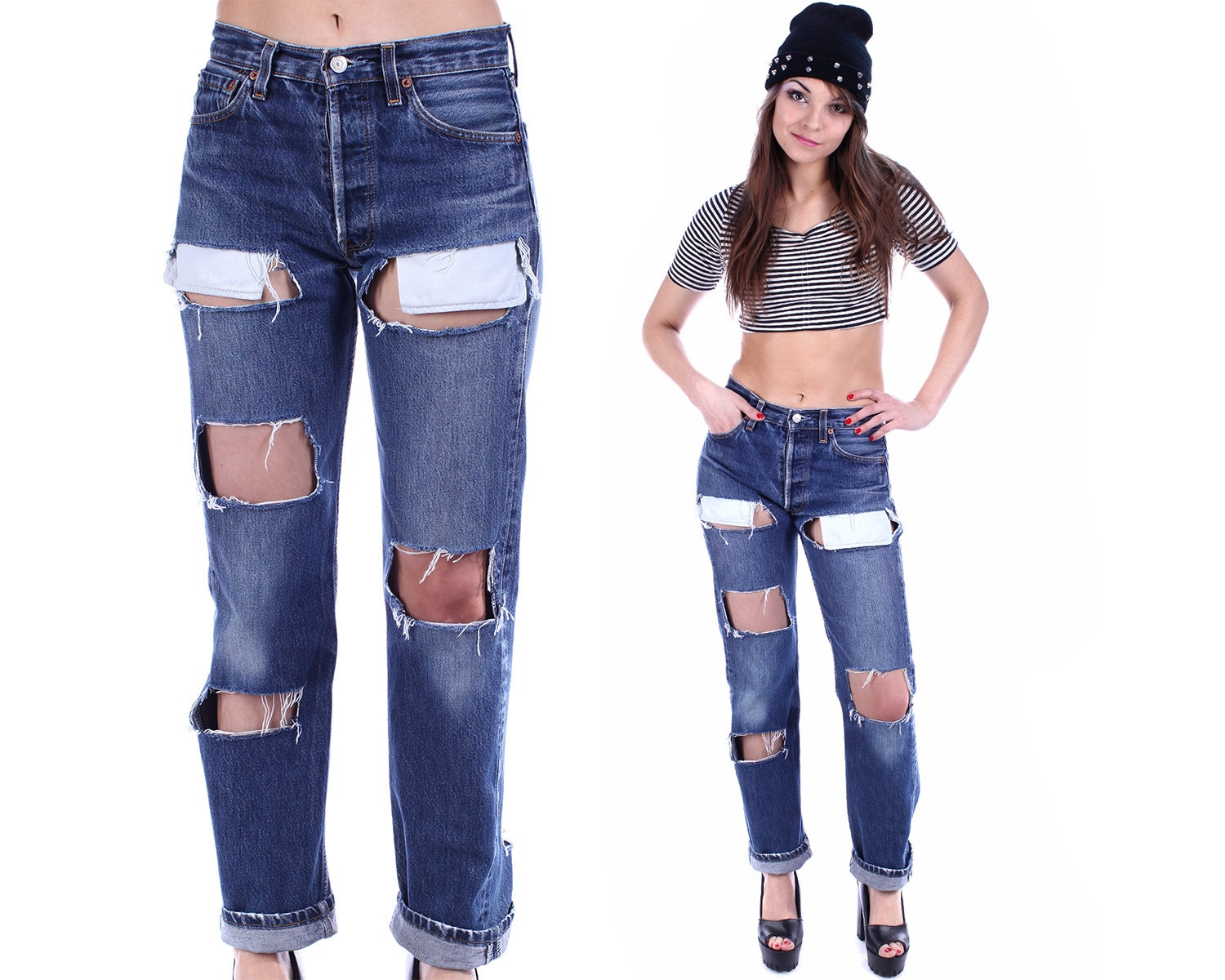 boyfriend jeans levis 501 high waisted ripped by betaapparel. Black Bedroom Furniture Sets. Home Design Ideas