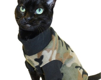 Camouflage Fleece Cat Shirt - Camo Cat Shirt- Cat Shirts-Cat Clothes-Shirts for Cats-Cat Clothing-Cat Sweater-Clothes for Cats-Cat Apparel