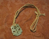 """Jade """"Dream Stone"""" Hemp Necklace Upcycled Vintage Chinese Pendant Thick Woven"""