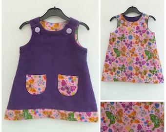 Girls Reversible Dress, Girls Reversible Pinafore, Pinny, Jumper, Play Dress, Girls Clothing, Kids Clothes, Toddler Dress, Butterflies