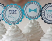 12 - Little Man Bowtie & Anchor Nautical Theme Baby Shower Turquoise Grey Navy Chevron Polka Dot Cupcake or Cake Toppers - Party Pack Sale