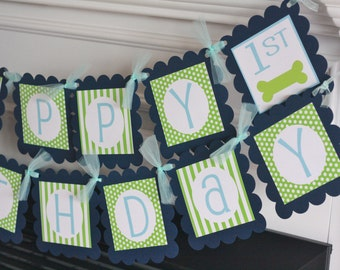 Happy Birthday Dog Puppy Pet Animal Navy Light Blue & Green Polka Dot Stripe Theme Banner - Party Pack Specials - Free Ship Over 65.00