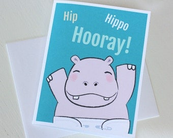Baby Shower Card - New Baby Hippo Card