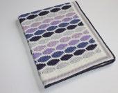 Retro Wool Purple Colour Ways Crochet Pram Cot Crib Nursery Car Baby Blanket for boy or girl Ready to Ship