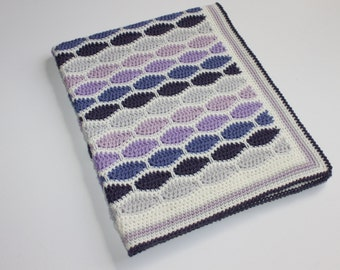 SALE Retro Wool Purple Colour Ways Crochet Pram Cot Crib Nursery Car Baby Blanket for boy or girl Ready to Ship