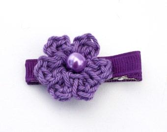 Flower Hair Clip, Crochet Flower Alligator Clip in Purple
