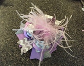 Silver and Lavender Chevron Hair Bow