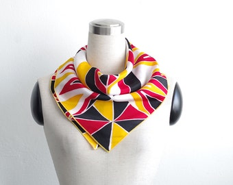 Geometric scarf. Neckerchief for summer hand painted on cotton or silk. Scarflette for men women. Bright small square neck scarf modern art
