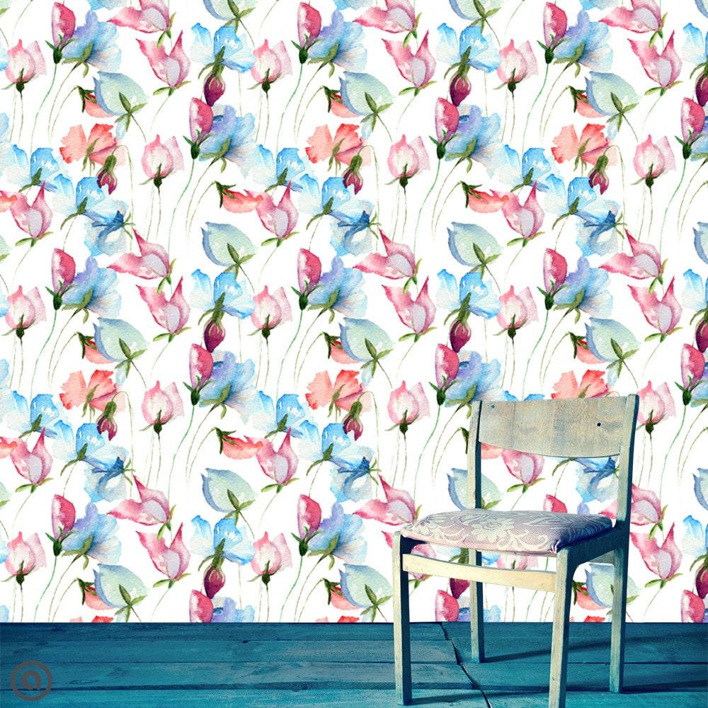 removable wallpaper watercolor floral peel stick self