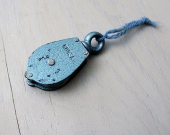 Vintage Blue Swivel Pulley - Metal Industrial Salvage