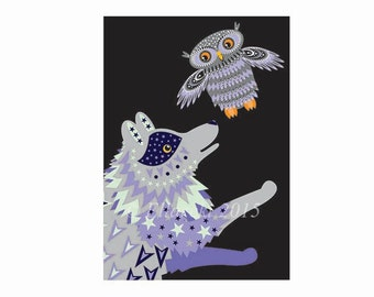 Wolf and Owl greetings card